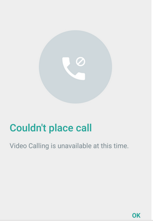 Whatsapp Video Calling Feature Error Message
