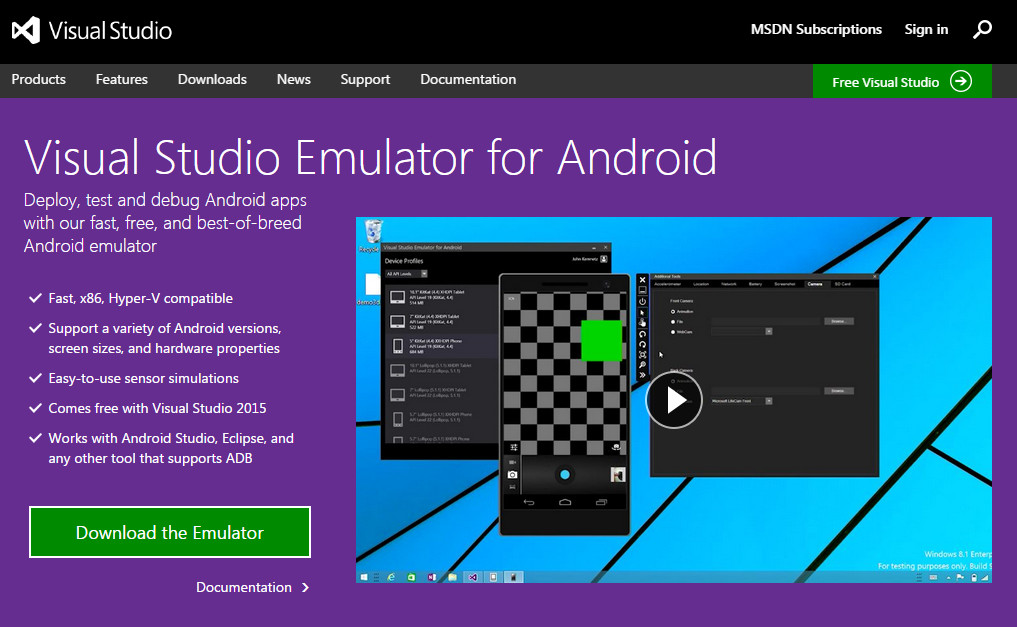 Visual Studio Android Emulator for PC