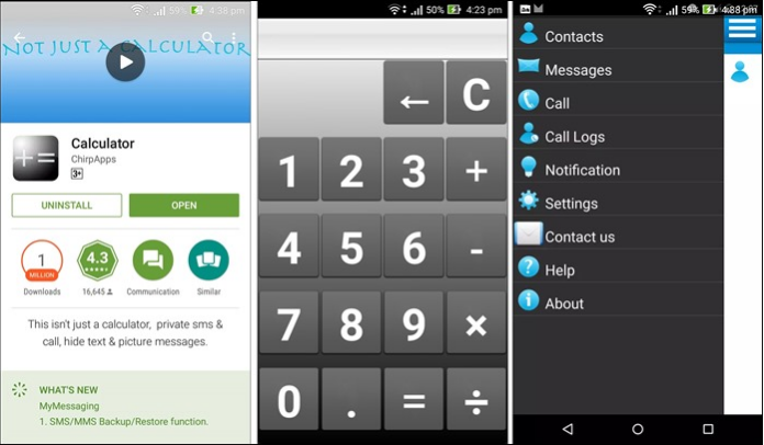 Calculator App for Hide Text Message and Call Log on Android Phone