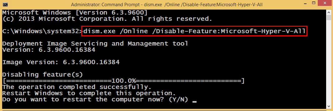Disable Hyper V Using DISM Command