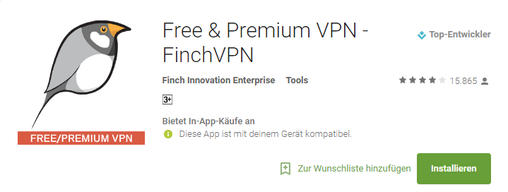 FinchVPN Apps for Android 2017