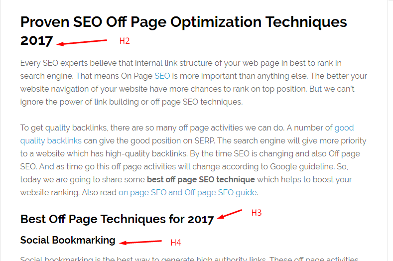 Heading Tag On Page SEO Technique 2017
