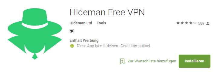 Hideman Free VPN App for Android