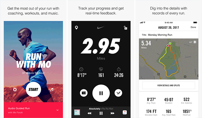 Nike+ Run Club iphone and apple watch running app