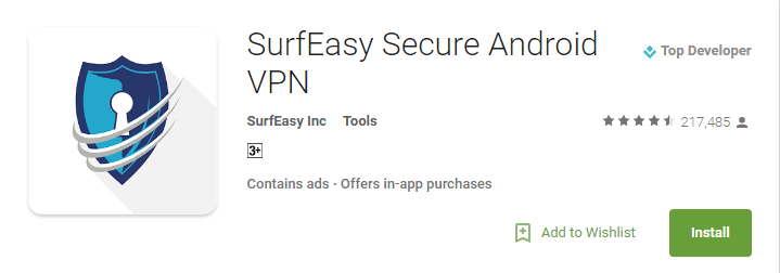 SurfEasy Android VPN Apps 2017