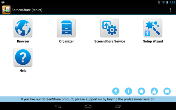 Screen Share for control android tablet from android phone