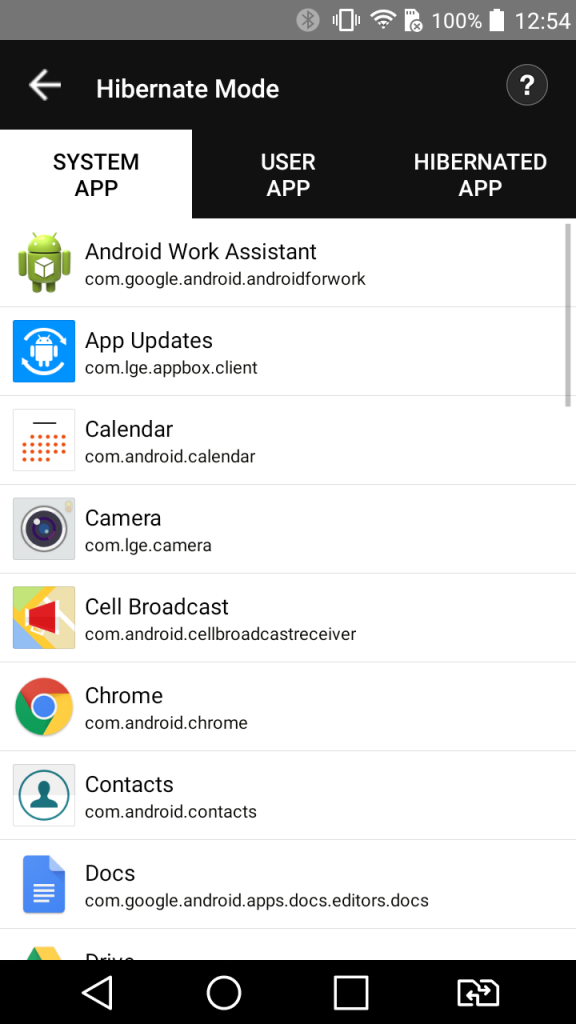 Hibernate for clean android device