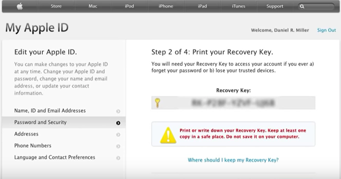 apple id password recovery Key