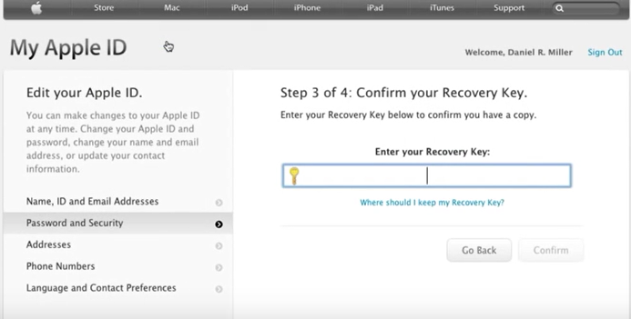 enter password recovery key for apple id