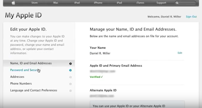 security and password for apple id verification