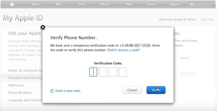 two step mobile number verification for apple id