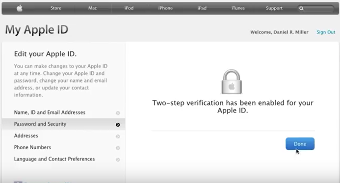 two step verification enable for apple id