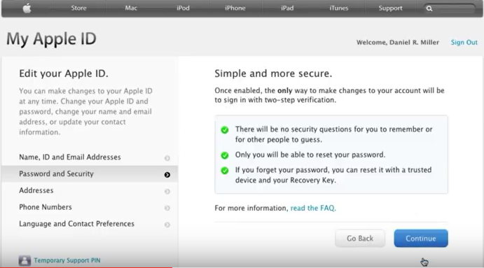 two step verification for Apple id confirmation