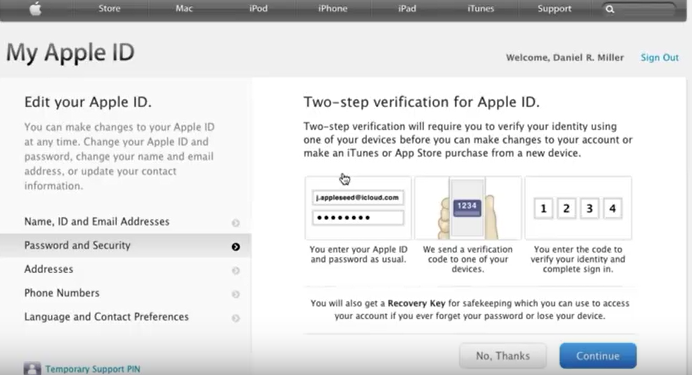 two step verification for Apple id