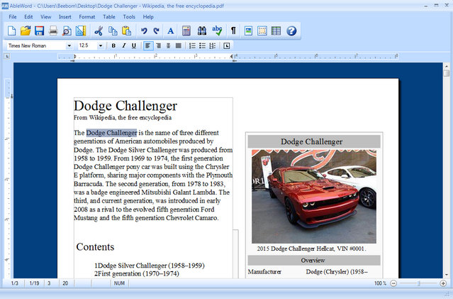 AbleWord free pdf editor software