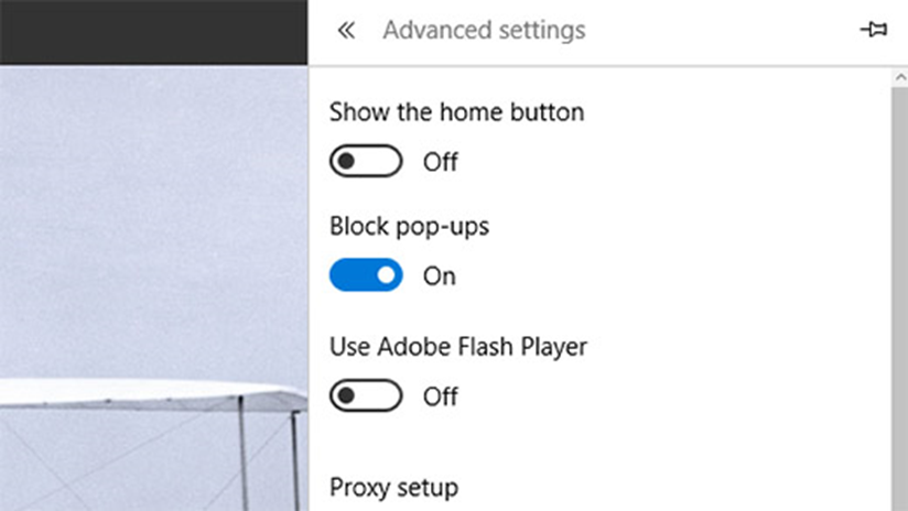 Blocking pop-ups in Edge Windows 10