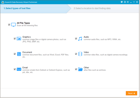 EaseUS free Data Recovery Wizard tool