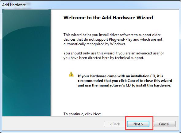 Add Hardware Wizard Windows