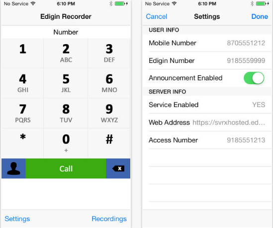 Edigin Call Recorder iPhone
