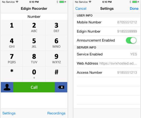 Edigin Call Recorder iPhone