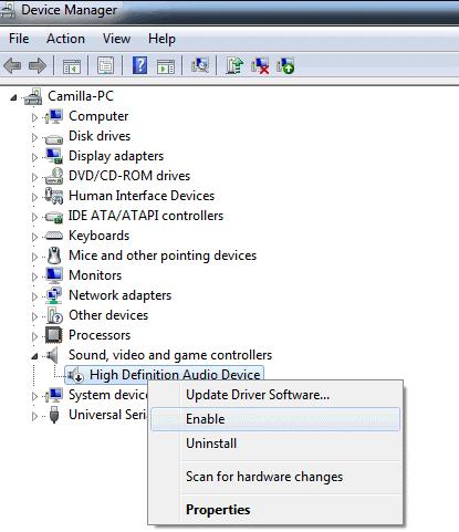 audio device enable
