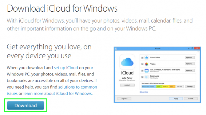 Step 1-Download iCloud for Windows