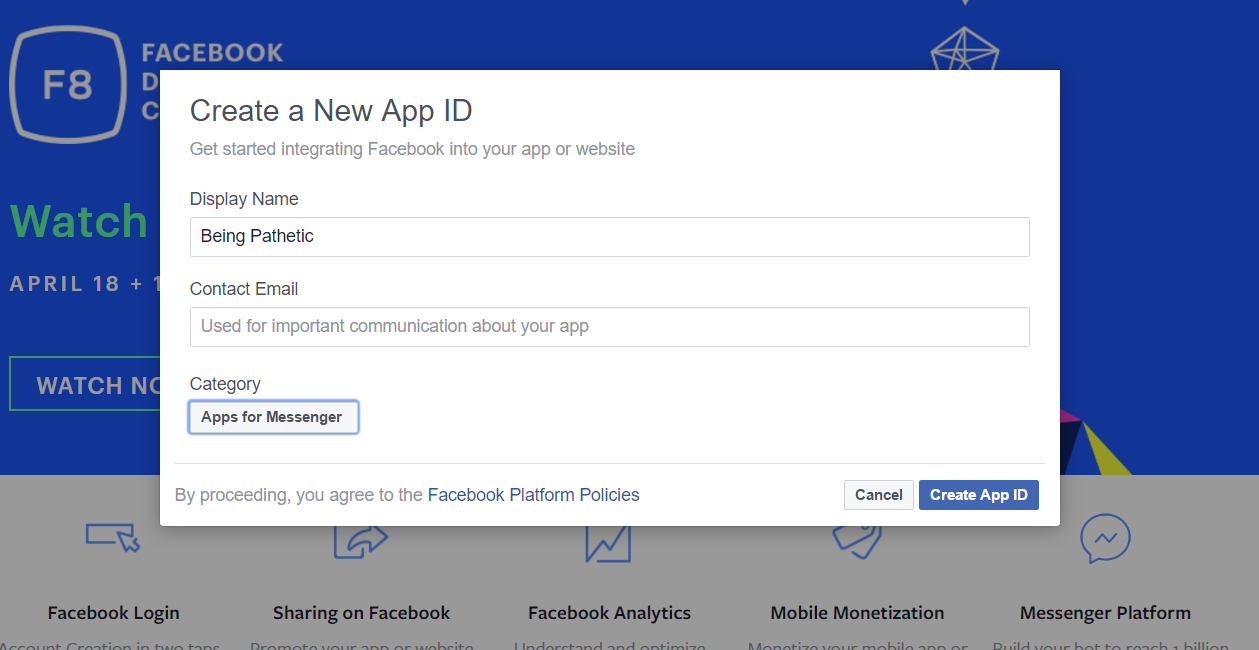 new app id for messenger bot