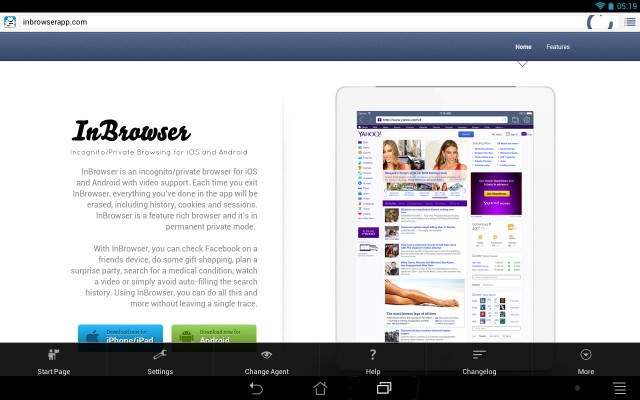 inbrowser prive android browser