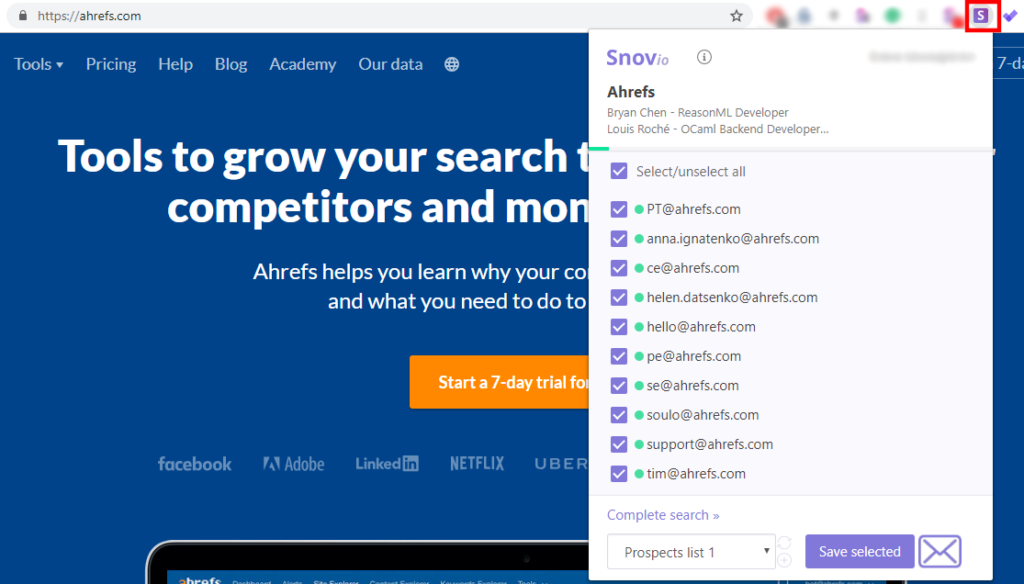 Snov.io email finder for ahrefs
