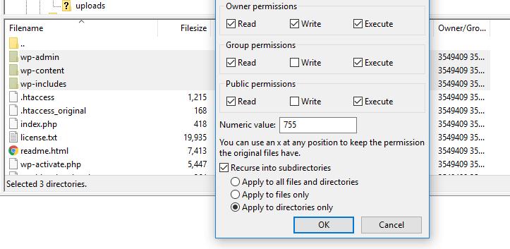 wordpress directory permission