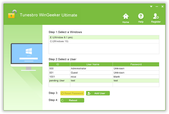 TunesBro WinGeeker Ultimate password reset software