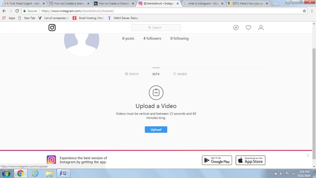 upload video on igtv