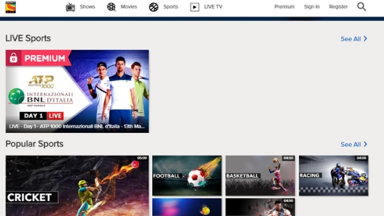 Sony Sports - Free Sports Streaming Sites