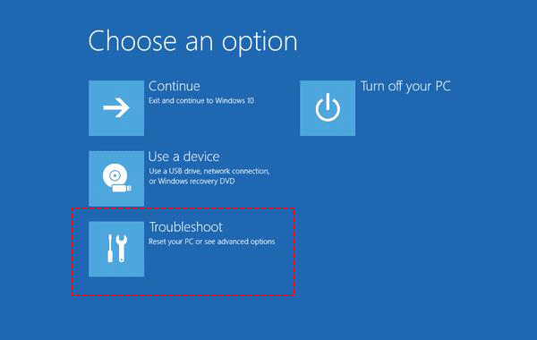 choose troubleshoot option