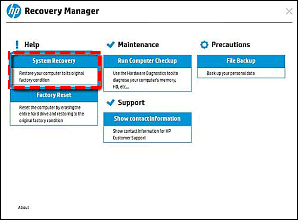 system recovery in hp recovery manager